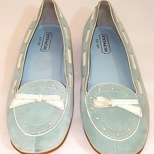 Coach Juliana Suede with Leather Trim Flats Sz 8M